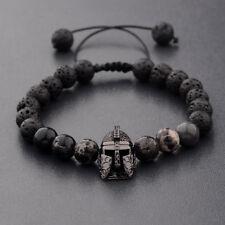 Helmet Beaded Macrame Charm Bracelets Gift Men's Lava Stone Zircon Spartan Black