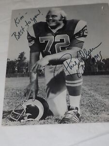 Vintage Phil Olsen L.A.Rams #72 Autographed Football 8 x 10 photo circa 1972