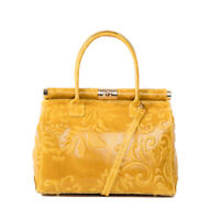 Italian yellow floral tooled calf leather satchel & handbag