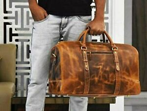Bag Leather Travel Duffle Weekend Men Luggage Vintage Gym S Genuine Overnight