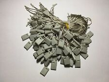 """7"""" 200 Pcs Gray Hang Tag Nylon String Round Snap Lock Pin Loop Fastener Ties"""