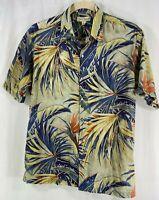 Tori Richard Hawaiian Aloha Blue Green Terra-cotta Palm Leaf Pattern Shirt L