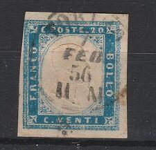 FRANCOBOLLI 1856 SARDEGNA C. COBALTO LATTEO VIVACE TORINO 7/2 Z/5100