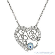 Evil Eye Bead Heart Pendant Turkish Nazar Greek Amulet Sterling Silver Necklace