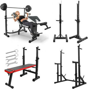 Squat Rack Bench Press Weight Lifting Barbell Stand Home Gym Station Equipment