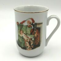 "Christmas Mug, gold rim, Museum Norman Rockwell ""Waiting For Santa"" 1985"