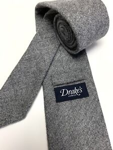 Drake's NWOT Gray 100% Cashmere Mens Neck Tie Handmade In London