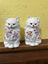 Vintage Ceramic Cat Salt & Pepper W/Beautiful Rosas