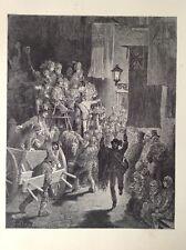 El Derby, por Gustave Dore regresar 1872 impresión Antiguo, Londres, Original