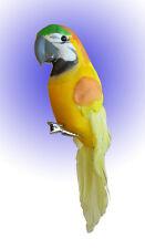 Papagei am Clip Gelb aus Federn 15 cm