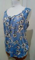 Bonmarche Blue Floral Sleeveless Cotton Top Size 16