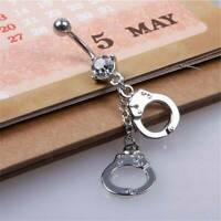 Handcuffs Belly Button Rings Crystal Rhinestone Navel Bar Body Women Jewelry NEW