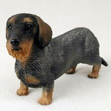 WIREHAIR DACHSHUND dog FIGURINE Wire Haired puppy HAND PAINTED Statue resin NEW