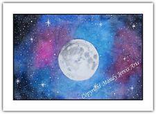 Moon Galaxy Night Sky - Watercolour Print Greeting Card - Birthday Notelet Blank
