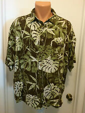 MENS  PURITAN ALOHA HAWAIIAN LEAF PRINT GREEN  RAYON SHIRT XL 46/48 S/S BUTTON
