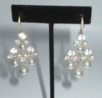 Drop Dangle Earrings Chandelier Gold Rhinestone Crystal Gray Imitation Pearl