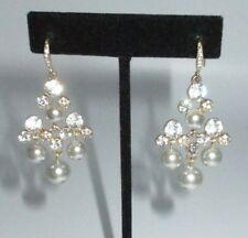 Rhinestone Crystal Gray Imitation Pearl Drop Dangle Earrings Chandelier Gold