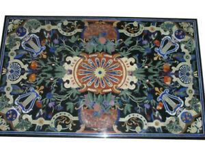 4'x3' Black Marble Dining Top Table Semi Precious Gemstone Inlay Art Decors B678