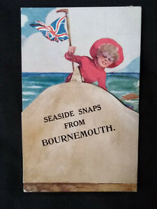 BOURNEMOUTH 1912 Seaside snaps Novelty Pullout Views x12 POSTCARD