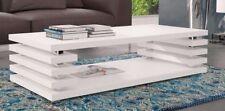 Couchtisch Tisch Wohnzimmertisch Sofatisch  Weiss Hochglanz 32mm Platte