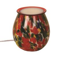 Red Flower Art Glass Electric Wax Warmer/Burner & 10 Handpoured Scented Melts