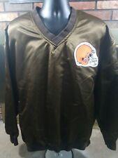 Vintage Cleveland Browns NFL Football Satin Starter Pullover Coat Mens XL Brown
