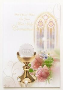 SPECIAL WISHES ON YOUR FIRST HOLY COMMUNION - Catholic Greetings Card