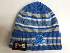 Detroit Lions New Era Knit Hat Vintage Stripe Beanie Stocking Cap NFL