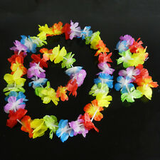 4pcs Hawaiian Tropical Hula Luau Grass Dance Head Neck Wrist Garland Xmas ZY