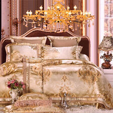 Luxury Palace 4pc. Satin & Cotton 600TC Golden Jacquard Queen Duvet Cover Set