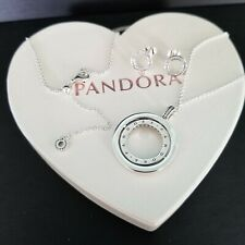 Authentic pandora circle pendant Necklace & Earrings set sterling silver