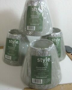 "Style #018 GREY Lamp Shades Clip-On 5"" lot of 4-NEW"