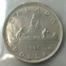 1946 Canada One 1 Dollar ICCS Graded Almost Uncirculated 50 Silver Coin A461