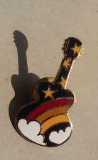 Rainbow Guitar vintage pin badge with stars and clouds