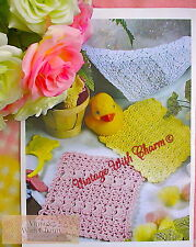 Vintage Crochet Pattern Baby's Wash Cloth Flannel 3 Styles So Simple!