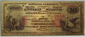 1875 US $10 Territorial National Bismarck ND Novelty 24K Gold Plated Note LG336