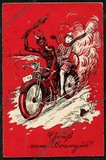 DIAVOLO ROSSO in MOTO con DONNA Roter Teufel im Motorrad mit junger Frau Krampus