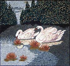 """40""""x 38"""" Handmade Beautiful white swans scene Mural  Design Marble Mosaic Art"""