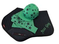 Navy/Emerald Green  Cross Country Colours Horse Riding Set, LeMieux Saddlecloth