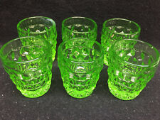 59c6f6e69c6 set 6 green Vaseline glass uranium Shot Glass cup   whiskey american  pattern lot