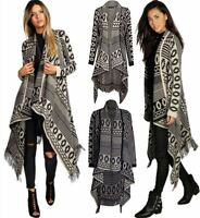 Women's Ladies Aztec Stripe Cable Knitted Waterfall Frill Poncho Cardigan