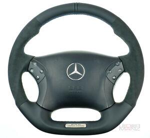 Mercedes custom thick steering wheel flat bottom W203 C350 C55AMG Nappa + SUEDE