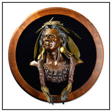 Dan Garrett Native American Bronze Relief Sculpture Bear Medicine Man Signed Art