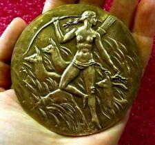 Paris Art Deco NUDE Diana Splendid French Archery medal by Belmondo 80mm
