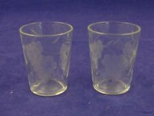 Vintage Shot Glasses with Etched Grapes and Leaves