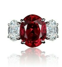 6Ct Oval Cut Ruby Simulant Diamond Designer 3 Stone Ring White Gold Finsh Silver