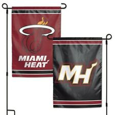"MIAMI HEAT DOUBLE SIDED GARDEN FLAG 12""X18"" YARD BANNER OUTDOOR RATED"