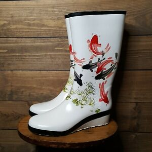 COUGAR Vancouver WATERPROOF Rain BOOTS WOMENS SZ 8 Handcrafted Fish Designs Cute
