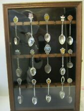 Vintage Glass Front Spoon Display Case with 15 Spoons Wall Hanging Collectors