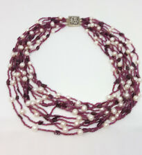 Multistrand White Freshwater Pearl And Claret Garnet Chip Necklace